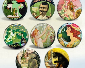 Vintage Absinthe Art & Advertisements set of 8 pin back buttons or magnets