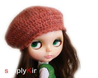 SimplyKir earth mohair vintage style BLYTHE  beret hat (PreMade)