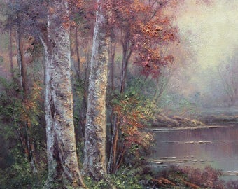 Mystic Birch , Original Fine Art, Oil Painting by Griselda Tello, Lake and birch, forest landscape