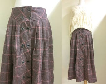 sale*Button down plaid midi skirt blush pink m