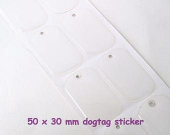 Dogtag seals, standard military size 30x50mm dog tag clear epoxy stickers domed covers for ID, personalized pendants