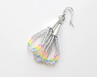 Beaded Silver Cone Dangle Earrings