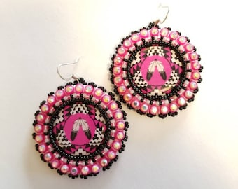 Two Feathers Beaded Earrings Pink