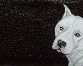 Dogo Argentino Dog Custom Painted Ladies Leather Wallet