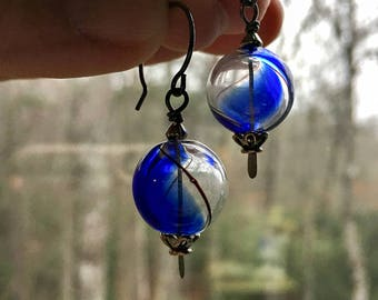 Blue and Clear Glass Orb Earrings || Blue Ridge Earrings | Something Blue | Boho | Hippie | Bride and Bridesmaid | Glass Earrings Under 20