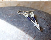 SALE - Navy Blue Wire Wrapped Silver Arrow Earrings - Silver Arrow Earrings - Arrow Earrings - bohemian jewelry - Sagittarius