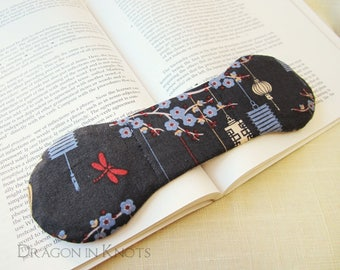 Book Weight Page Holder - Japanese Lanterns on Dull Blue, Red Dragonfly, Blue Flowers