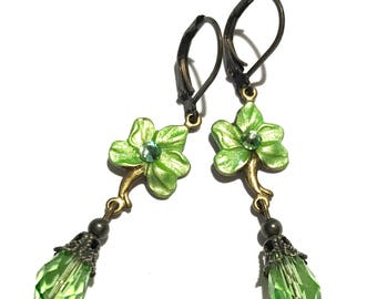 Flower Earrings Hand Painted Brass and Crystal