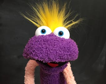Sock Puppet Monster, Hand and Rod Puppet, Purple Sock Puppet, Yellow Hair, Arm Rods