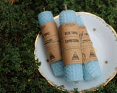 BLUE TOPAZ / EXPRESSION - Hemp and Beeswax Hand Rolled Candles - Crystal Infused Beeswax Honeycomb Thoughtful Candles