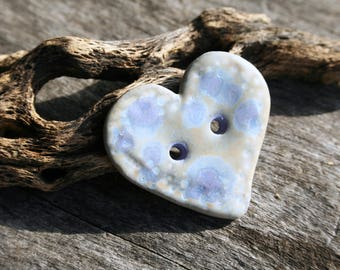 Handmade Ceramic Heart Button