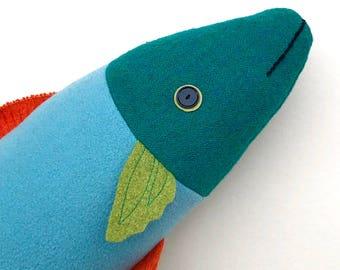Aqua, green, and orange bright wool fish throw pillow doll