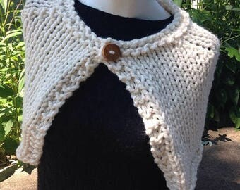 SALE Cream Handknit Capelet Ivory Wrap Shawl with Reclaimed Wood Button