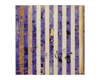 "ORIGINAL Abstract Painting ""Purply"" by Lisa Carney, Modern Art, Minimalist Painting, Stripes, Organic, Geometric, Contemporary, Purple"