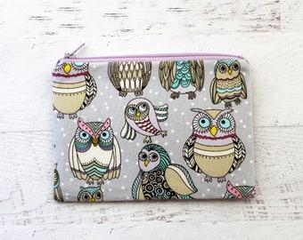 Owls print bag - owls make up bag - owl zipper pouch - school supplies bag  - owls zip pouch - owl wallet