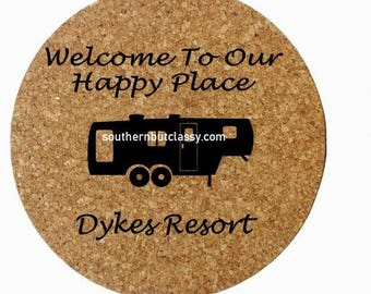 Welcome To Our Happy Place Cork Trivet 5th Wheel