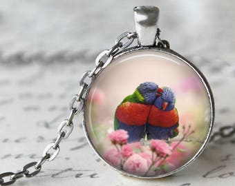 Rainbow Lorikeet Pendant, Necklace or Key Chain - 1 Inch Round - Choice of 4 Colors - Birds, Photograph