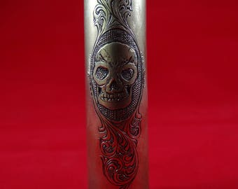 Hand Engraved 50 caliber bullet - Skull and Scroll