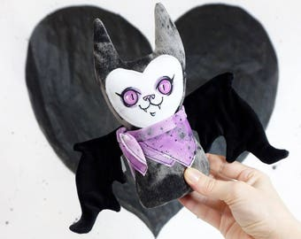 Stuffy Bat - Handpainted face with velvet and faux leather wings
