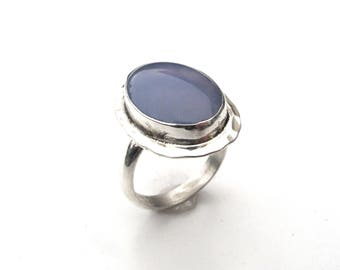 Sterling Silver and Chalcedony Ring - Size 8 OOAK