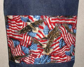 New Large Handmade American Patriotic Flag Bald Eagle USA Print Denim Tote Bag