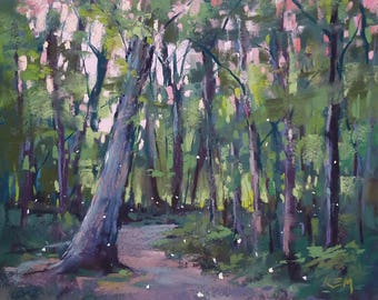 Fireflies in the FOREST Trees  Landscape Original Pastel Painting Karen Margulis 8x10