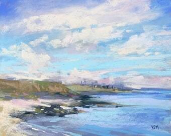 IRELAND Seashore Kilmore Quay plein air  Landscape Original Pastel Painting Karen Margulis 8x10
