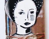 Original painting, gouache, portrait, mixed media