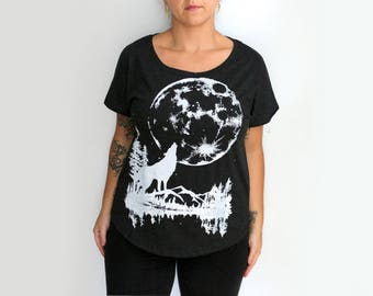 SALE Small- Heather Black Scoop Neck Dolman Tee with Moon Wolf Screen Print