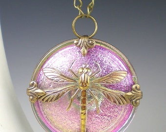 SUMMER SALE Dragonfly Necklace Lavender Pink Czech Glass Button Oxidized Brass Vintage Inspired Jewelry