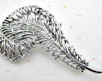 Sarah Coventry Vintage Brooch Pin - Large Feather Pin - 1960's Sarah Coventry Jewelry - Silver Tone Pin - Statement Pin - 1960's SAC Brooch