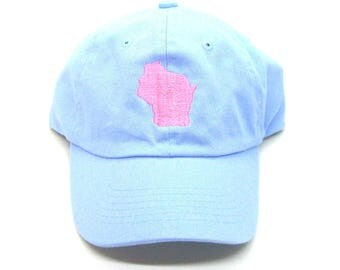 Clearance - Sale - Gift - Gracie Designs Hat - Coral on Light Blue Wisconsin Dad Hat