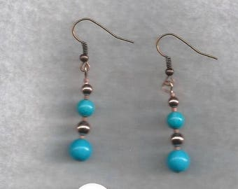 ON SALE Turquoise and Copper Drop Earrings
