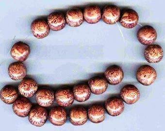 Lavender & Mauve Large Round Wood Beads 13MM UNIQUE 6 pcs