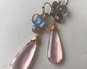 Rose Quartz and Labradorite Earrings