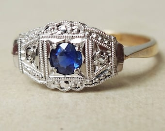Art Deco Scalloped Setting Diamond and Sapphire Ring, 9ct Gold Platinum Engagement Ring Approx. Size US 7.25 / 7.5