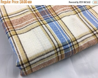 50% OFF- Plaid Wool Blend Fabric-Classic Retro-Blue and Brown