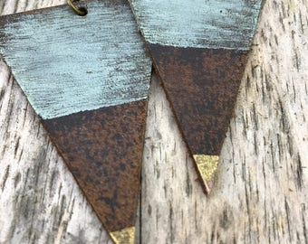 Painted Leather Earrings--Triangles-Boho Earrings-Mini Canvas-Gold and Blue