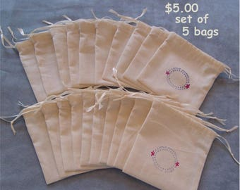Party Favor muslin bags Wedding thank you gift bags set of 5 bags drawstring