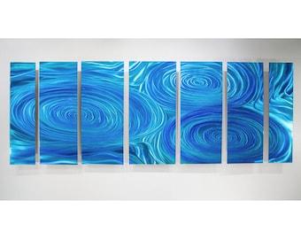 Aqua Blue Modern Metal Wall Art Sculpture, Abstract Water Inspired Painting, Contemporary Decor, Metal Wall Hanging - OOAK 858 by Jon Allen