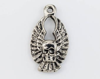20mm Antique Silver Winged Skull Charm #CHA103