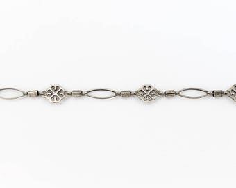 Antique Silver 8mm Filigree and Eyelet Chain #CC111
