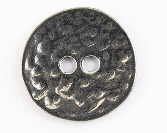 19mm Antique Silver Pewter Hammered 2 Hole Button #BUT051A