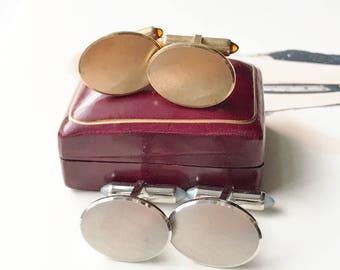 Vintage men's cuff links   1950's Krementz plain classic gold or silver cufflinks   imitation citrine moonstone cuff links   gift for him