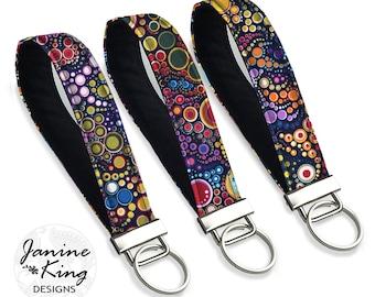 Colorful Fabric Key Fob Wristlet, Silver Keyfob Keychain,  Boho Key Holder, Key Chain Wristlet, Teacher Gift Bridesmaid, Bubbles, Dots  MTO