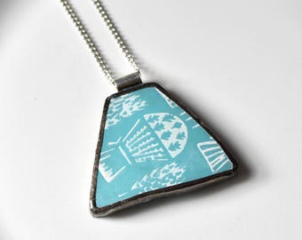Broken China Jewelry Pendant - Turquoise Pyrex Butterprint Balloon