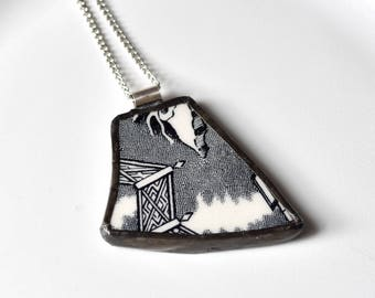 Broken China Jewelry Pendant - Black and White Willow Ware
