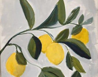 lemon tree painting yellow lemons yellow and green bold organic graphic colors original painting pamela munger