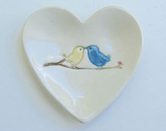Ceramic Heart Ring Dish , Hand Built Hand Painted, Love Birds
