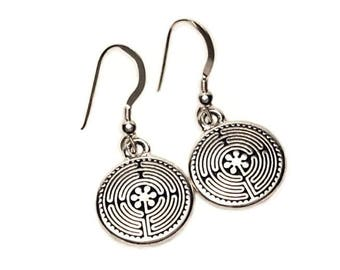 Labyrinth Dangle Earrings Fine Silver Plated Pewter Sterling Silver Earwires Maze Meditation Spirituality